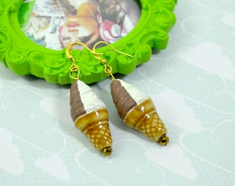 SCOOPS OF DELIGHT - Chocolate and Vanilla Waffle Cone Ice Cream Charm Earrings