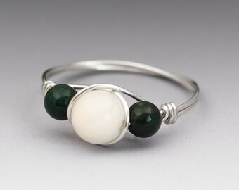 White Moonstone & Bloodstone Sterling Silver Wire Wrapped Bead Ring - Made to Order, Ships Fast!