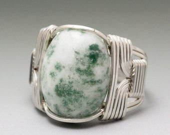Tree Agate Sterling Silver Wire Wrapped Cabochon Ring - Made to Order and Ships Fast!