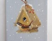 bird house painting original still life Wren in winter art