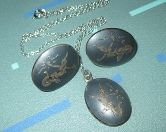 Vintage Sterling and Enamel Siam Oval Pendant Necklace and Earrings
