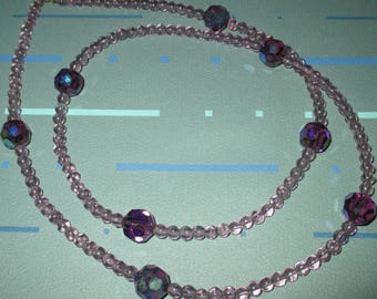 Last Call..........Vintage Purple Faceted Aurora Borealis Glass Bead Long Necklace