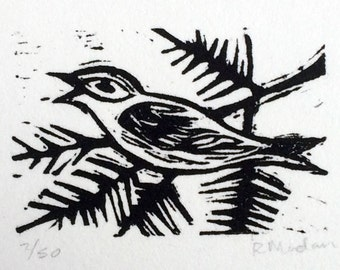 Winter Bird- linoleum block print- Ruchika Madan