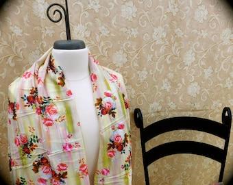 Digital printed Silk blend fabric, foral silk fabric, digital printed fabric, Floral printed fabric, light weight fabric, scarf making