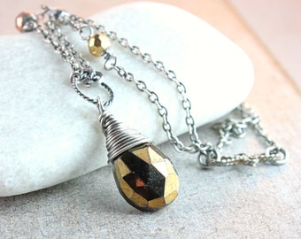 Pyrite  Necklace Oxidized Silver Fools Gold  Gemstone Jewelry   Stone Jewellery Handmade Accessories Wire Wrapped