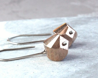 Pyrite  Earrings    Oxidized   Sterling Silver   Gemstone Jewelry    Fools Gold Gem Stone Earrings Made For Her