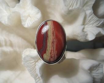 Beautiful Red Agate Jasper Ring Size 7