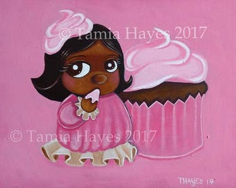 PRINT- Acrylic- Painting- Cupcake- Baby- Pink- Buttercream- Black Baby- Chicasol