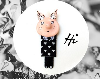 Pig Jewelry, Clay Brooch, Vegan Brooch, Animal Figurines, Pig Pin, Cute Pig, Clay Jewelry, Animal Jewelry