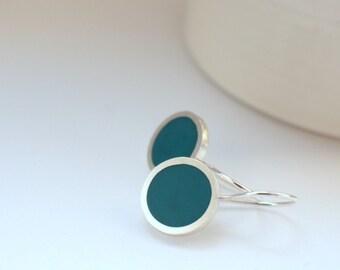 Teal Blue Drop Earrings - Round Silver & Resin Earrings - Simple Modern Drop Earrings - UK Jewlelery - Pop