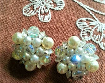Vintage Faux Pearl and Glass Bead Clip On Earrings Mid Century