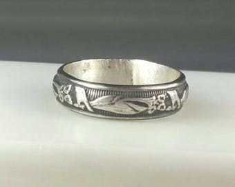 Lily Floral Stacking Ring, Floral Wedding Band, Lilies, Sterling Silver Pattern Ring, Flower Ring,  Size 6 Ring by Maggie McMane Designs