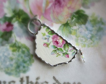 Vintage Recycled Broken China Sweet Romantic Tea Cup Roses Pendant - Tea Time
