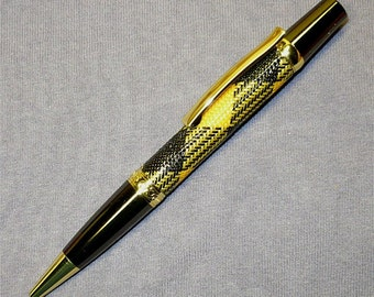Handmade Wood Pen SIERRA Twist Parker Pen Ballpoint Braided Gold and Gun Metal