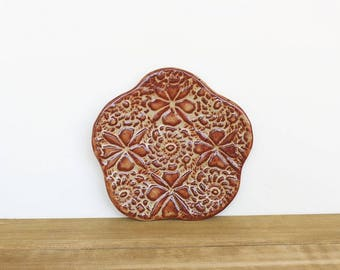 Textured Stoneware Clay Trinket Plate in Shino Glaze, Rustic, Handmade Pottery