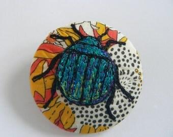 Liberty fabric shiny beetle free-hand machine embroidered fabric brooch