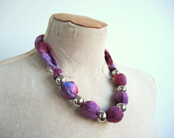 Minerva Plum Silk statement necklace in rich purple and burgundy- large adjustable unique OOAK ready to ship