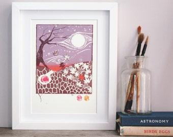 Original art screenprint underground maple hare in the autumn