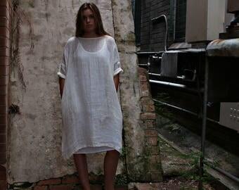 Oversized Gauze Linen Dress