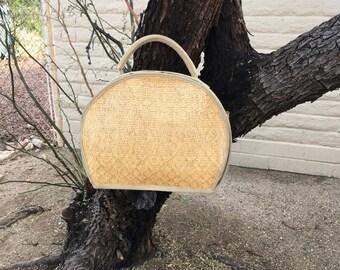 Vintage Wicker Half Circle Handbag Carry On Rockabilly Purse