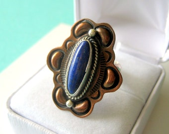 Running Bear Lapis Lazuli Sterling & Copper Navajo Ring Size 6.5