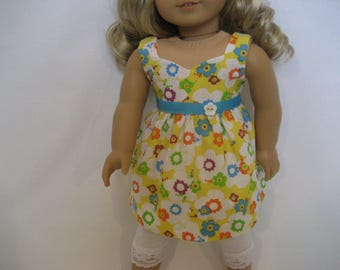 18 Inchl Doll Clothes - Flowered Dress and Leggings made to fit dolls such as American Girl doll clothes