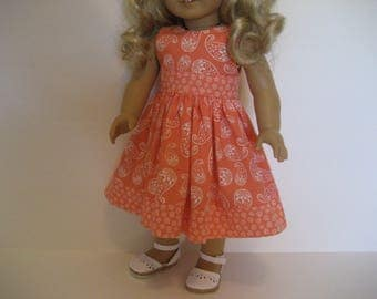 18 Inch Doll Clothes - Coral and White Dress with Hairbow made to fit dolls such as American Girl and Maplelea doll clothes