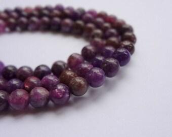 6mm Round Natural Lepidolite Semi Precious Gemstone Beads - Half Strand