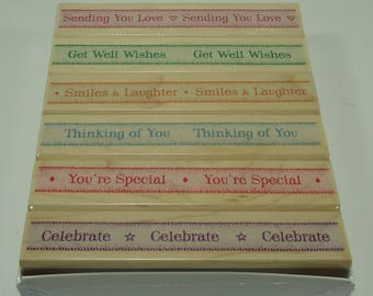 Ribbons With Messages Wood Mounted Rubber Stamp Set LL019 From Hero Arts, Thinking Of You, Get Well Wishes, Celebrate, Smiles & Laughters