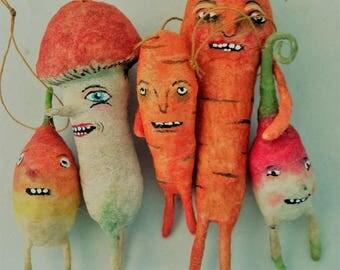 ON HOLD for KIM Whimsical spun cotton veggies set