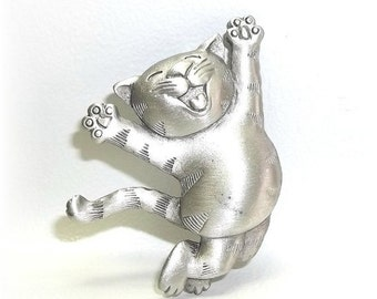 Happy Cat JJ pin Jonette brooch vintage  jewelry pewter nos