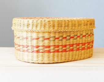 Vintage 1970s Sweet Grass Basket with Lid Boho Decor