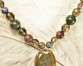 necklace with ceramic pendant Czech fire polished glass ocean jasper neutral jewel tones toni Kelly multi color beads