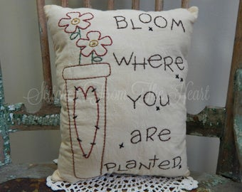 Hand Stitched, Spring, Pillow, Decorative Pillow, Garden, Flowers