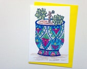 Colourful Talavera Mexican pot and succulent plant greeting card - Australian art - A6 watercolour