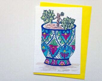 Colourful Talavera Mexican pot and succulent plant greeting card - Australian art - A6 watercolour