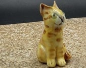 Miniature orange tabby cat -  porcelain sculpture