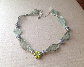 Sage Green Wire Mesh Titanium, Lime Green Cloisonne' Necklace
