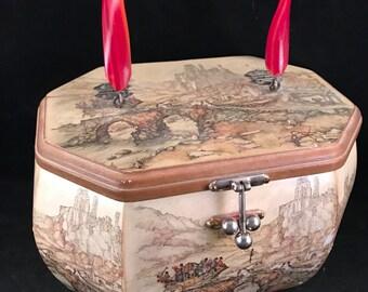 Vintage Ladies Wood Box Style DECOUPAGE Purse