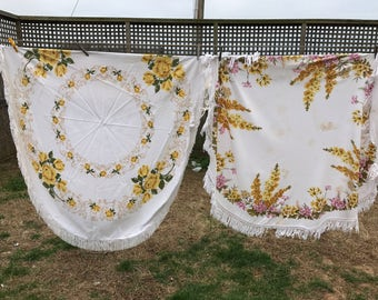 Pair of Vintage White with Yellow Floral Print Round Cutter Tablecloths with Fringe