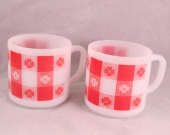 Pair of Vintage Federal Glass White Milk Glass and Red Picnic Check Coffee Mugs