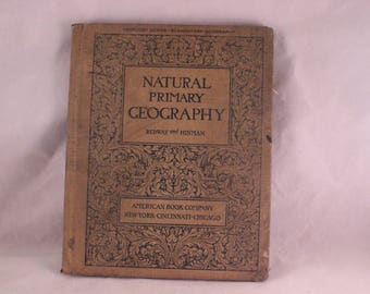 Antique/Vintage 1902 Taupe Hardback Natural Primary Geography Book