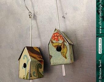 Hershey's Cocoa Birdhouses -- Upcycled Tin Earrings