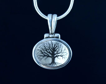 original Scrimshaw tree on mother of pearl pendant