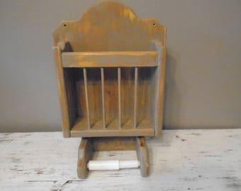 Vintage wooden single toilet paper  / TP holder and magazine rack /  distressed dark taupe primitive / shabby bathroom decor