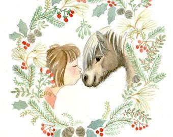 Under the Mistletoe Pony Print - Watercolor Horse - Horse print - Wreath
