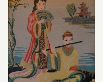 On Sale Asian Themed Paint By Number, Orient, Ocean, Sea, Japanese, Music, Framed Mid Century Modern Art
