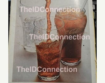 1960's National Geographic Coca Cola Ad - Drink Coca Cola, Soda Ad, Mid Century Advertisement, Man Cave, The Real Thing, Ice Cold Soda
