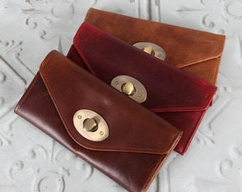 Leather Wallet Twist Lock Purse