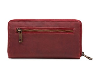 Ladies Leather Ziparound Wallet, Leather Purse, Red